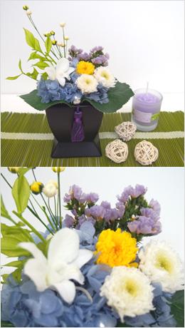 プリザーブドフラワーを使用して制作したお仏花